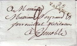 DROME - 25 VALENCE - 24-10-1803 - AVEC TEXTE ET SIGNATURE - TAXE MANUSCRITE 2. - Marcophilie (Lettres)