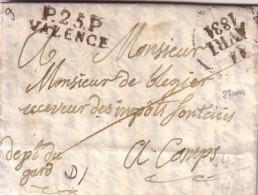 DROME - P.25.P VALENCE - 13-4-1831 - LETTRE AVEC TEXTE ET SIGNATURE - INDICE 9. - Marcophilie (Lettres)