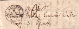 DROME - VALENCE - T12 DU 8-7-1838 - TAXE MANUSCRITE 3 POUR GRENOBLE - AVEC TEXTE. - Marcophilie (Lettres)