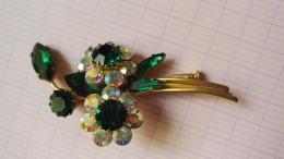 Bijoux Broche Ancienne Fleurs Strass - Broches