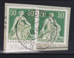 Schweiz Helvetia Mit Schwert 1940-09-09 Briefstück Mit 2 X Zu#113y Glattes Kreidepapier - Suisse