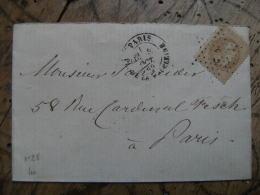 1869 Paris Place De La Madeleine Etoile Paris 3 Napoleon 10 C Sur Lettre - Marcophilie (Lettres)