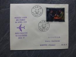 AIR FRANCE 1ère Liaison Boeing 707 Paris-Houston 1962  Enveloppe, Cachets  ; Ref 438 PHIL 06 - Marcophilie (Lettres)
