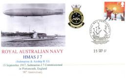 (606) Navy - Submarine J7 Commissionning 90th Anniversary (with UK Stamp) - Militaria