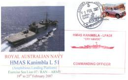 (606) Navy Cover - HMAS Kanimbla Deployment To Exercise Sea Lion 2007 (signed By Ship CO) - Militaria