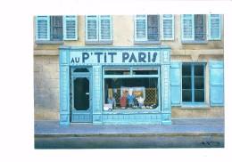 Illustration Renoux - Magasin - AU P'TIT PARIS - Devanture Vitrine BLANCHISSERIE DE COURCELLES - Shopkeepers