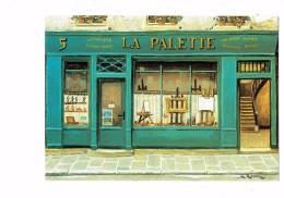 Illustration Renoux - Magasin - LA PALETTE - Devanture Vitrine CHEVALET PINCEAUX - Shopkeepers