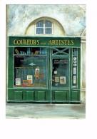 Illustration Danon - Magasin - COULEURS POUR ARTISTES - Devanture Vitrine CHEVALET PINCEAUX LAMPE LUSTRE - Shopkeepers
