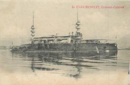 BATEAUX DE GUERRE  Bateau Le Jules Michelet Croiseur  Cuirassé  2 Scans - Guerra