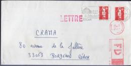 Lettre FD De 64 Lescar 30-5-95 Pour 33053 Bordeaux Cedex FD Apposée à 59 Roubaix Ppal 1-6-95 Sécap Rouge - Abarten Und Kuriositäten