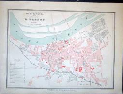 76 ELBEUF  PLAN D'ELBEUF  VERS 1890 DOCUMENT ANCIEN COLORIS D´EPOQUE - Geographical Maps