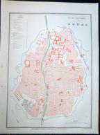 59 DOUAI PLAN DE DOUAI   VERS 1890 DOCUMENT ANCIEN COLORIS D´EPOQUE - Cartes Géographiques