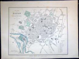 21 DIJON PLAN DE DIJON   VERS 1890 DOCUMENT ANCIEN COLORIS D´EPOQUE - Geographical Maps