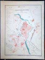 ALGERIE CONSTANTINE PLAN DE CONSTANTINE   VERS 1890 DOCUMENT ANCIEN COLORIS D´EPOQUE - Cartes Géographiques