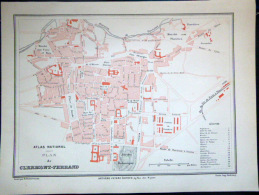 63 CLERMONT FERRAND PLAN DE CLERMONT FERRAND   VERS 1890 DOCUMENT ANCIEN COLORIS D´EPOQUE - Cartes Géographiques