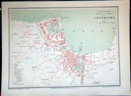 50 CHERBOURG PLAN DE CHERBOURG  VERS 1890 DOCUMENT ANCIEN COLORIS D´EPOQUE - Cartes Géographiques