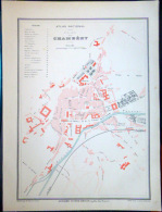 73 CHAMBERY PLAN DE CHAMBERY VERS 1890 DOCUMENT ANCIEN COLORIS D´EPOQUE - Geographical Maps