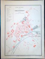 73 CHAMBERY PLAN DE CHAMBERY VERS 1890 DOCUMENT ANCIEN COLORIS D´EPOQUE - Cartes Géographiques