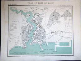 29 BREST VILLE ET PORT DE BREST   VERS 1890 DOCUMENT ANCIEN COLORIS D´EPOQUE - Geographical Maps