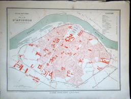 84 AVIGNON PLAN D'AVIGNON    VERS 1890 DOCUMENT ANCIEN COLORIS D´EPOQUE - Cartes Géographiques