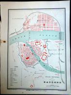 64 BAYONNE PLAN DE BAYONNE     VERS 1890 DOCUMENT ANCIEN COLORIS D´EPOQUE - Cartes Géographiques