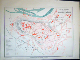 16 ANGOULEME PLAN D'ANGOULEME    VERS 1890 DOCUMENT ANCIEN COLORIS D´EPOQUE - Cartes Géographiques