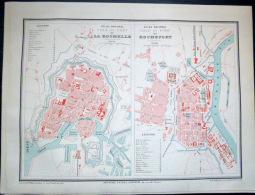 17 LA ROCHELLE ET ROCHEFORT PLAN DES VILLES     VERS 1890 DOCUMENT ANCIEN COLORIS D´EPOQUE - Cartes Géographiques
