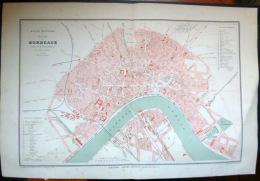 33 BORDEAUX PLAN DE BORDEAUX      VERS 1890 DOCUMENT ANCIEN COLORIS D´EPOQUE - Cartes Géographiques