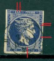GREECE LARGE HERMES HEAD 20 L. 1875 - 1880 CREAM PAPER   Position 5 - 1861-86 Grande Hermes
