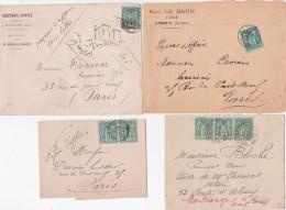 SAGE 5c Sur PAPIERS D'AFFAIRES - Bande Enveloppe Tarif Imprimé - Lot De 9 Lettres - 1876-1898 Sage (Type II)
