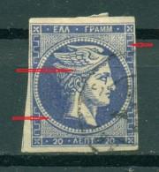 GREECE LARGE HERMES HEAD. 20 L. 1875 - 1880   Pos 114. - 1861-86 Large Hermes Heads