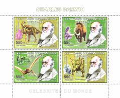 Congo 2006 Sheetlet MNH, Charles Darwin, Prehistoric Animals, Iguanodont Dinosaur, Mammoth, Tropeognathus - Briefmarken