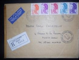 France Lettre Recommande  De Fort De France Marine 1990 Pour Monaco - Postmark Collection (Covers)