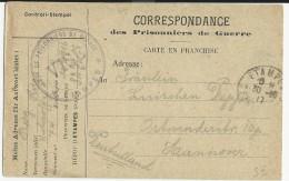 1917 - CARTE Du DEPOT De PRISONNIERS DE GUERRE ALLEMANDS De ETAMPES (ESSONNE) Pour HANNOVER - Oorlog 1914-18
