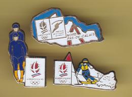 49456-lot De 3 Pin's. .jeux Olympiques Albertville.. - Olympic Games