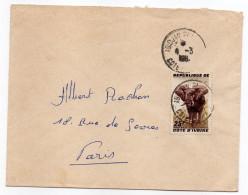 Côte D'Ivoire--196?--Lettre De Abidjan Pour Paris (France)-timbre Seul Sur Lettre (éléphant) -cachet - Côte D'Ivoire (1960-...)