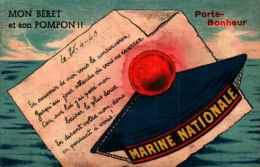 Humour Militaire Illustré 4 - Marine Nationale, Mon Béret Et Son Pompon Porte-bonheur - Humour