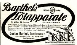 Original-Werbung/ Anzeige 1913 - BARTHELS LÖTAPPARATE / GUSTAV BARTHEL - DRESDEN - Ca. 90 X 60 Mm - Publicités