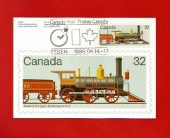CANADA  1984 , Locomotive - Maximum Card - First Day Salon Der Philatelie Zum XIX. Weltpost-Kongress Hamburg - Maximumkaarten