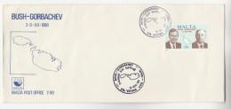 1989 MALTA FDC Stamps PRESIDENT BUSH & GORBACHEV Cover - Malta