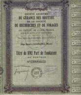 STE DE GERANCE DES BRUTTOS DE LA STE DE RECHERCHES & FORAGES (MAROC) - Mineral