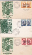 Romania - Exil 1957 EUROPA - CEPT OVERPRINT INVERTED,STAMPS IN PAIR,X3 COVERS FDC.VERY RARE. - Europa-CEPT
