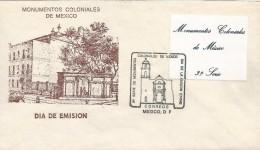 B)1982 MEXICO, MONUMENTS,  BUILDING, ARCHITECTURE, COLONIAL MONUMENTS OF MEXICO, FDC, XF - Mexico