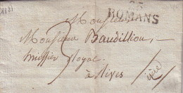 DROME - 25 ROMANS - 31x12mm - 12 JUIN 1821 - LETTRE AVEC TEXTE ET SIGNATURE - TAXE 3 MANUSCRIT. - Marcophilie (Lettres)