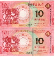 MACAO  New  Commemorative Set 10 Patacas  Year Of The  Monkey Issue   2016 - Macao