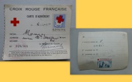 CROIX ROUGE Française 1961 Carte Adhérent Avec Timbre Et Vignette ; Ref  485 PHIL06 - Commemorative Labels