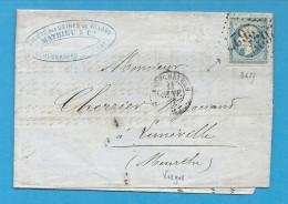 Vosges - NEUFCHATEAU (Usine De VILLARS) Pour LUNEVILLE (Meurthe) - GC + CàD Type 15. SUPERBE ENTETE - Marcophilie (Lettres)
