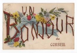 Un Bonjour De Corbeil (-Essonnes), 1924, éd. ELD, Fantaisie, Fleurs - Corbeil Essonnes