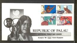 1988 , PALAU, SOBRE DE PRIMER DIA , JUEGOS OLÍMPICOS , DEPORTES , ATLETISMO , NATACIÓN , BASEBALL , SALTO DE TRAMPOLIN - Ete 1988: Séoul
