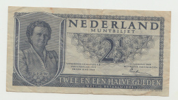 """Netherlands 2 1/2 Gulden 1945 """"F+"""" Pick 73 - [2] 1815-… : Kingdom Of The Netherlands"""
